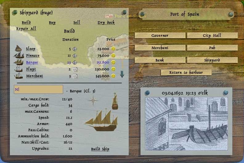 World of Pirates » Barque, ship class 3